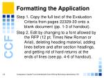 formatting the application13