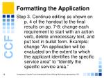 formatting the application14