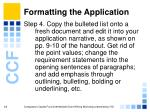 formatting the application16