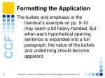 formatting the application17