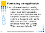 formatting the application19