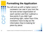 formatting the application20