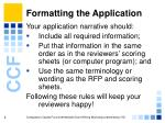 formatting the application4