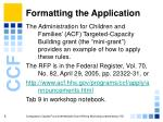 formatting the application5