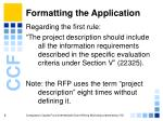formatting the application6