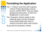 formatting the application9