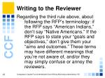 writing to the reviewer