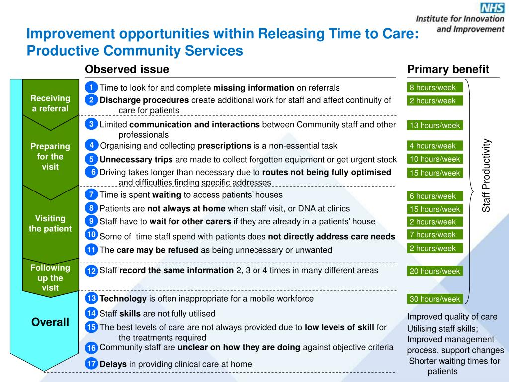 Improvement opportunities within Releasing Time to Care: Productive Community Services