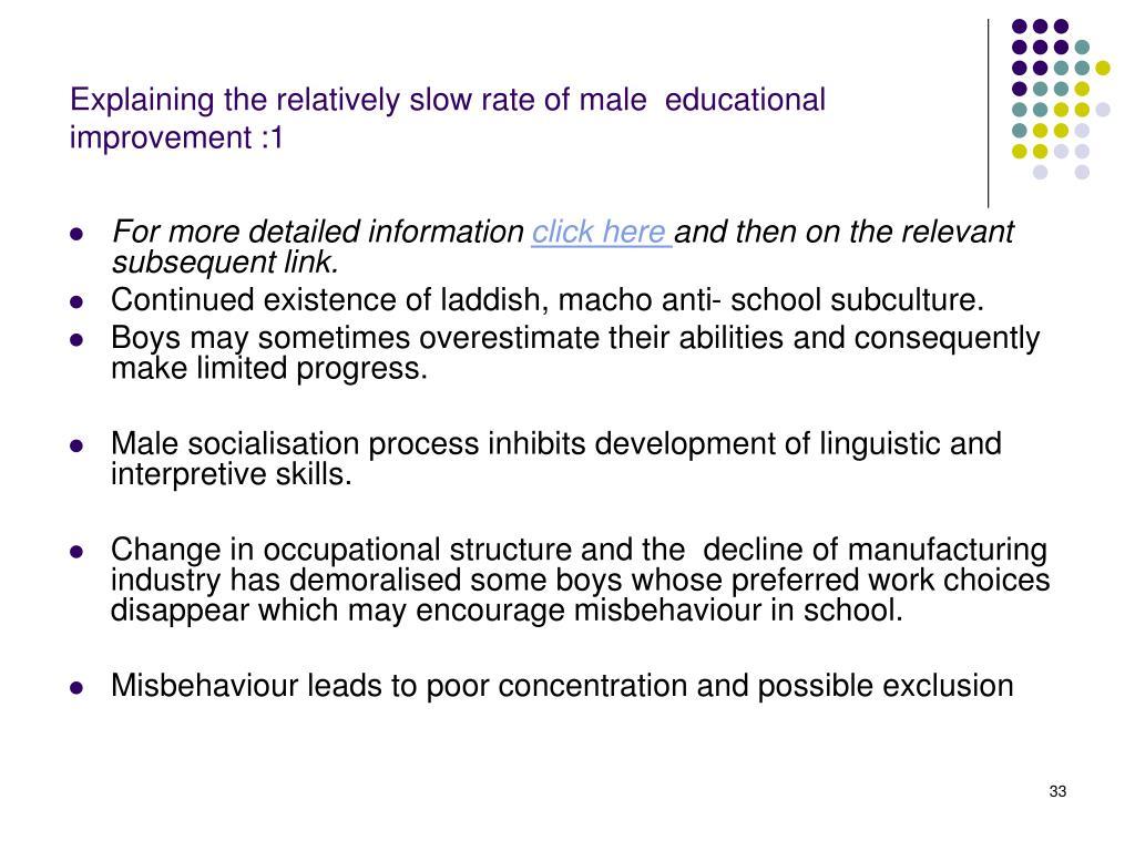 Explaining the relatively slow rate of male  educational improvement :1
