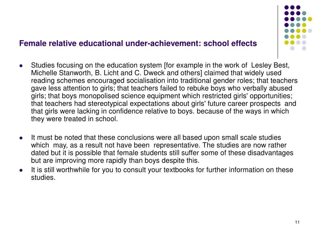 Female relative educational under-achievement: school effects