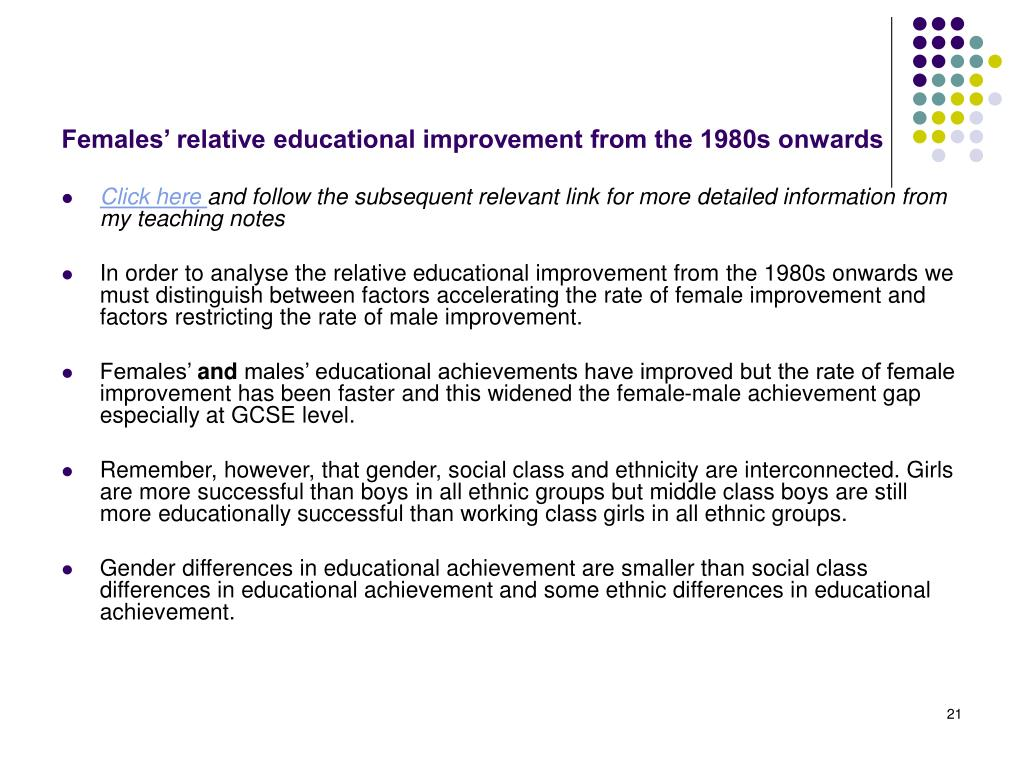 Females' relative educational improvement from the 1980s onwards