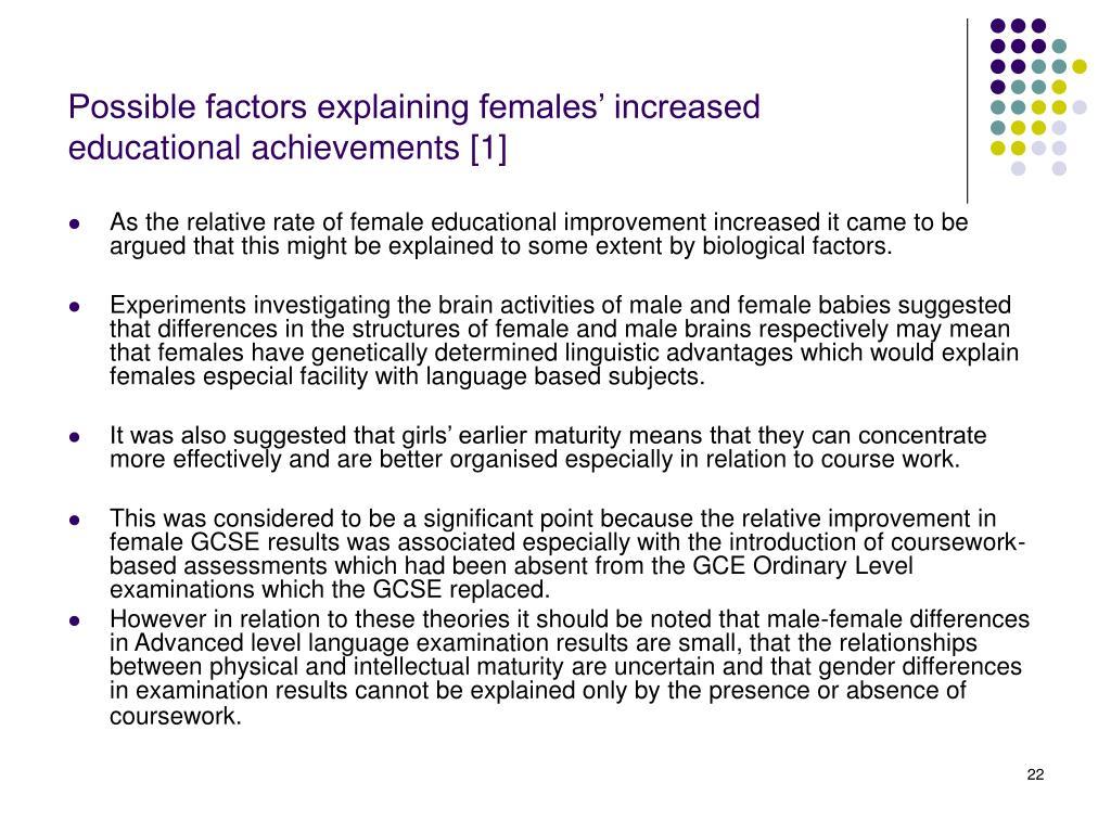 Possible factors explaining females' increased educational achievements [1]