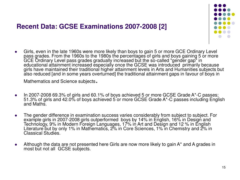 Recent Data: GCSE Examinations 2007-2008 [2]