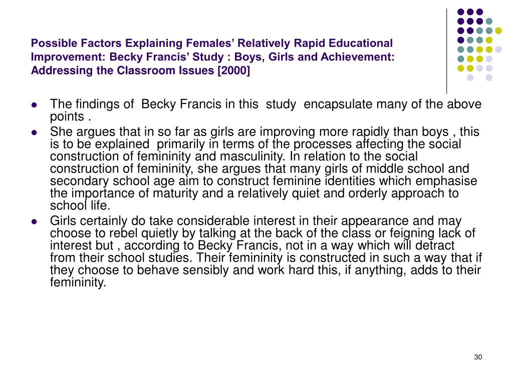 Possible Factors Explaining Females' Relatively Rapid Educational Improvement: Becky Francis' Study : Boys, Girls and Achievement: Addressing the Classroom Issues [2000]