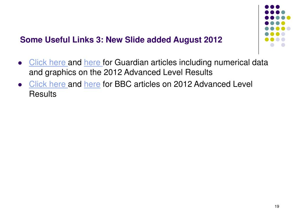 Some Useful Links 3: New Slide added August 2012