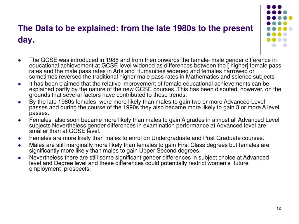 The Data to be explained: from the late 1980s to the present day