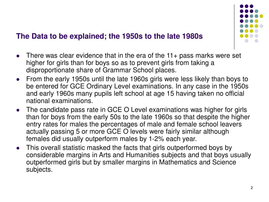 The Data to be explained; the 1950s to the late 1980s