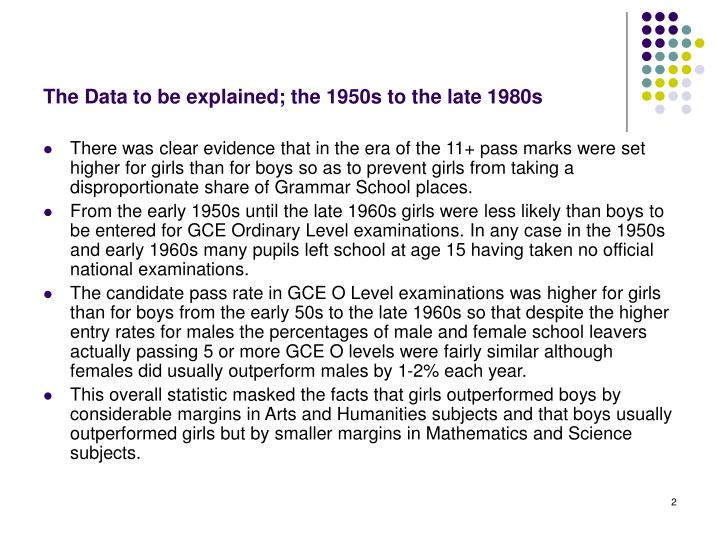 The data to be explained the 1950s to the late 1980s