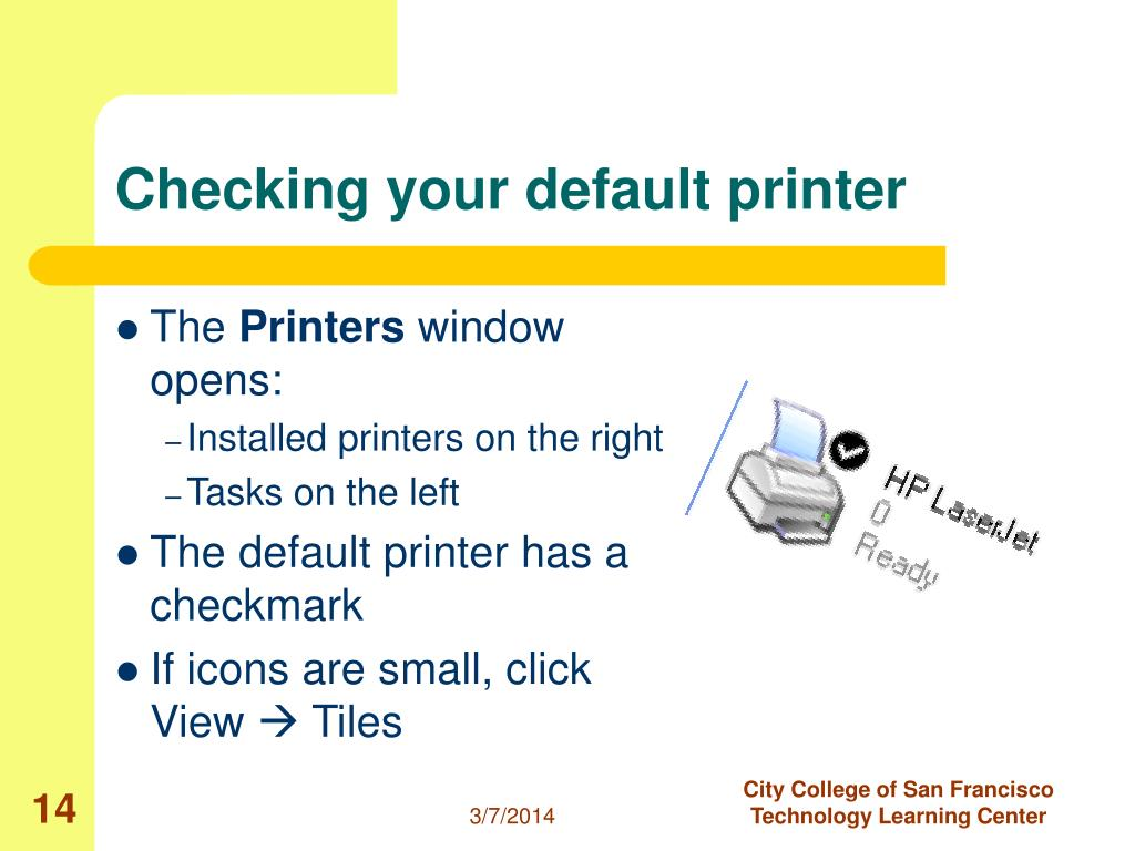 Checking your default printer