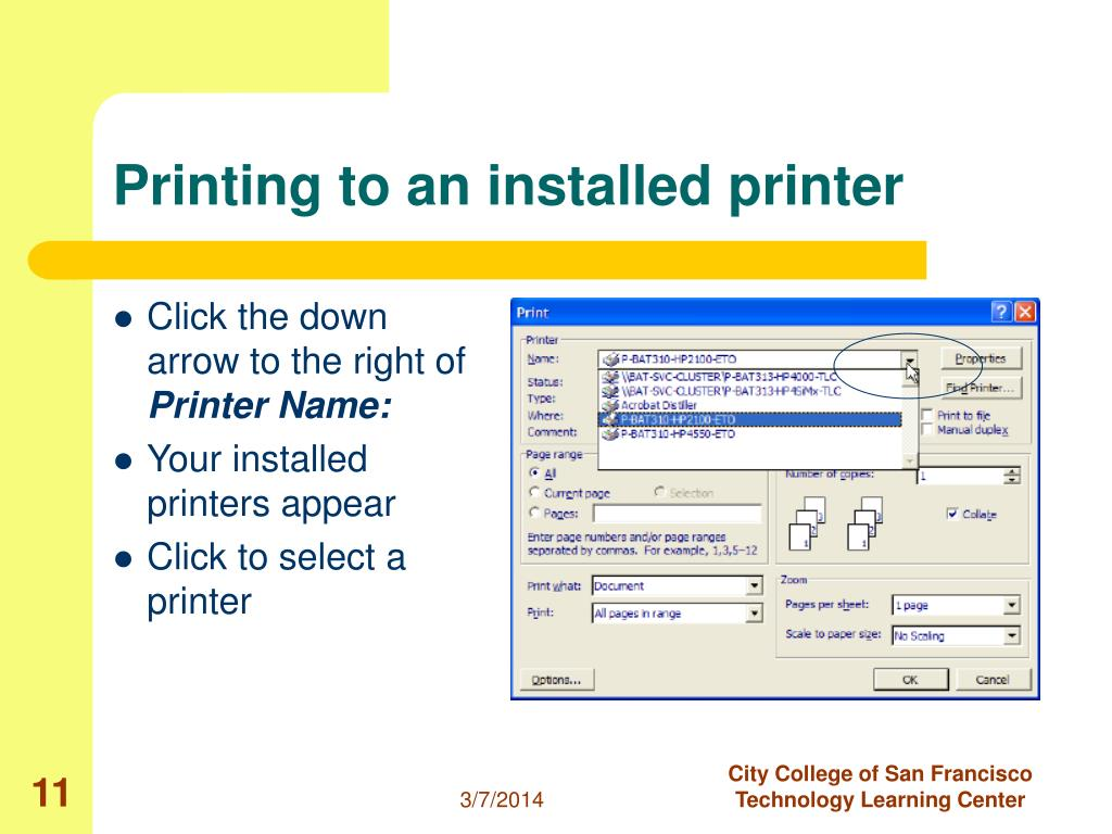 Printing to an installed printer