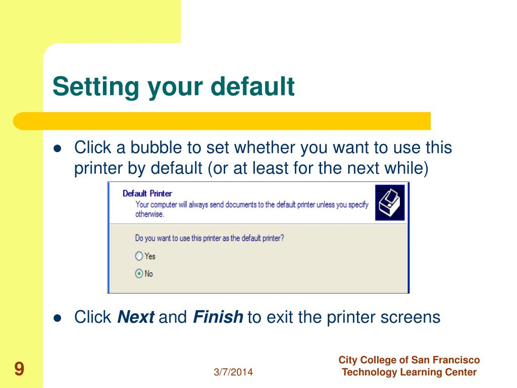 Setting your default