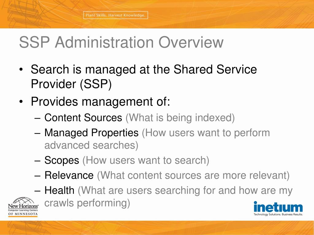 SSP Administration Overview