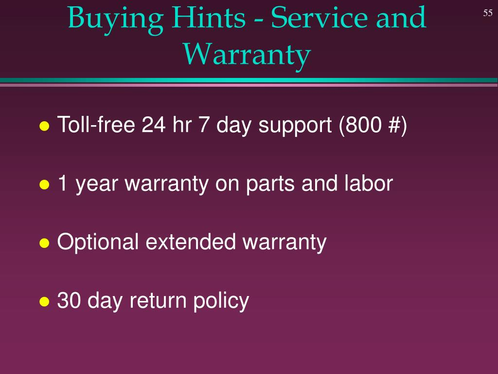 Buying Hints - Service and Warranty
