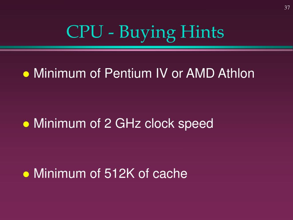 CPU - Buying Hints