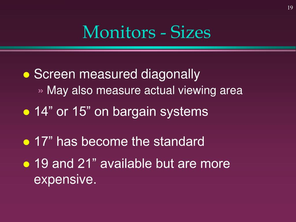 Monitors - Sizes