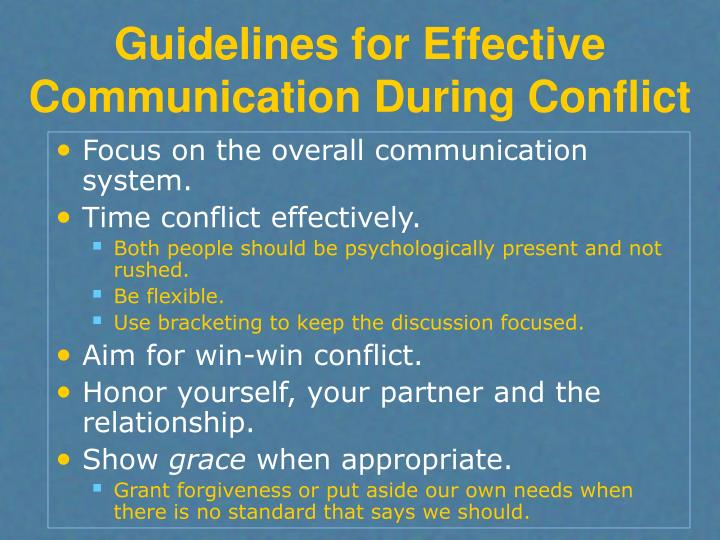 Guidelines for Effective Communication During Conflict