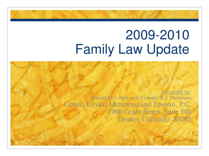 2009 2010 family law update