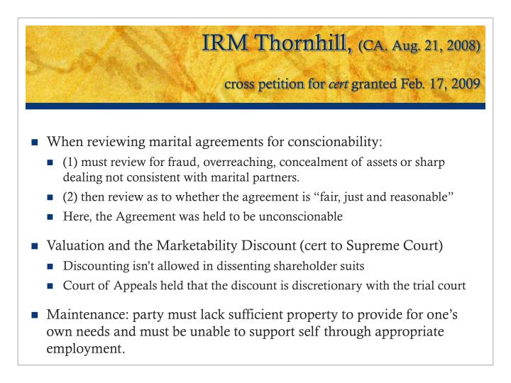 Irm thornhill ca aug 21 2008 cross petition for cert granted feb 17 2009