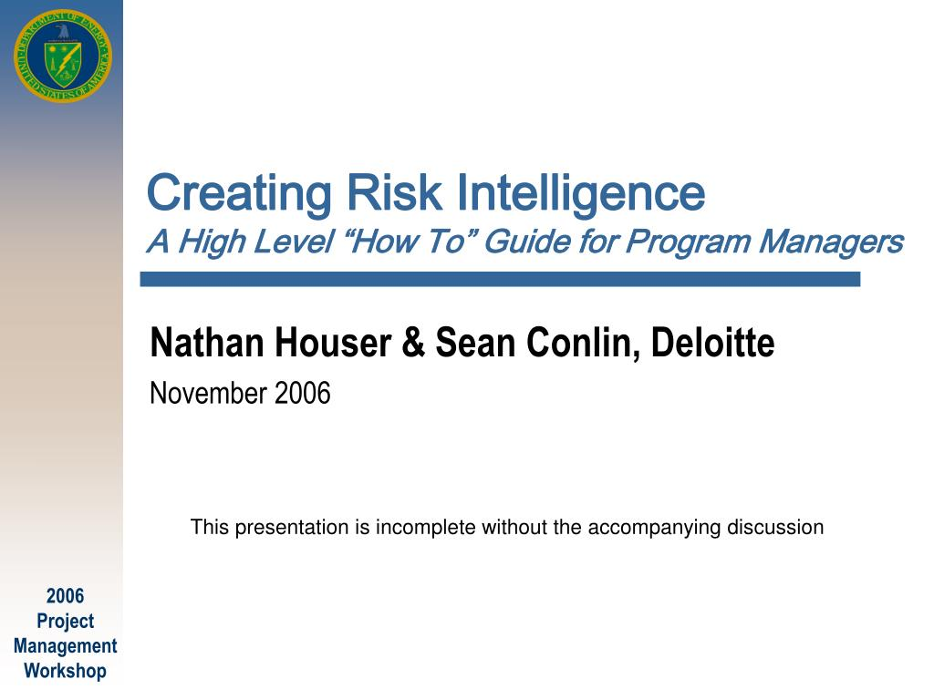 creating risk intelligence a high level how to guide for program managers l.