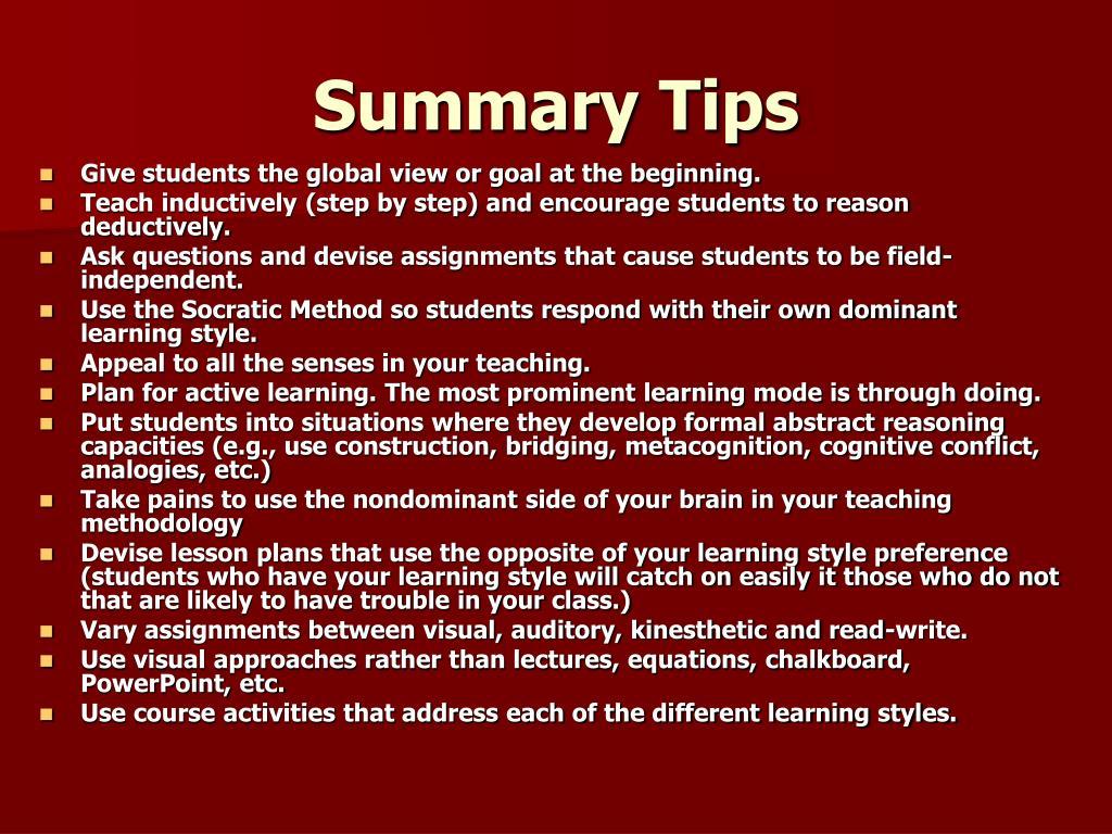 Summary Tips
