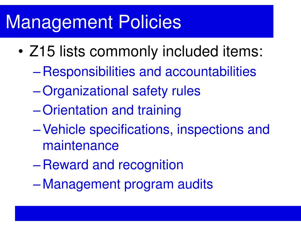 Management Policies