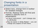 changing fonts in a presentation