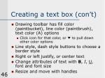 creating a text box con t