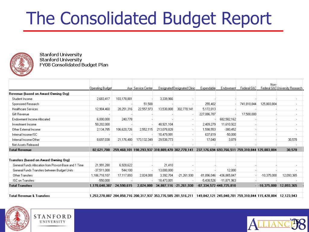 The Consolidated Budget Report