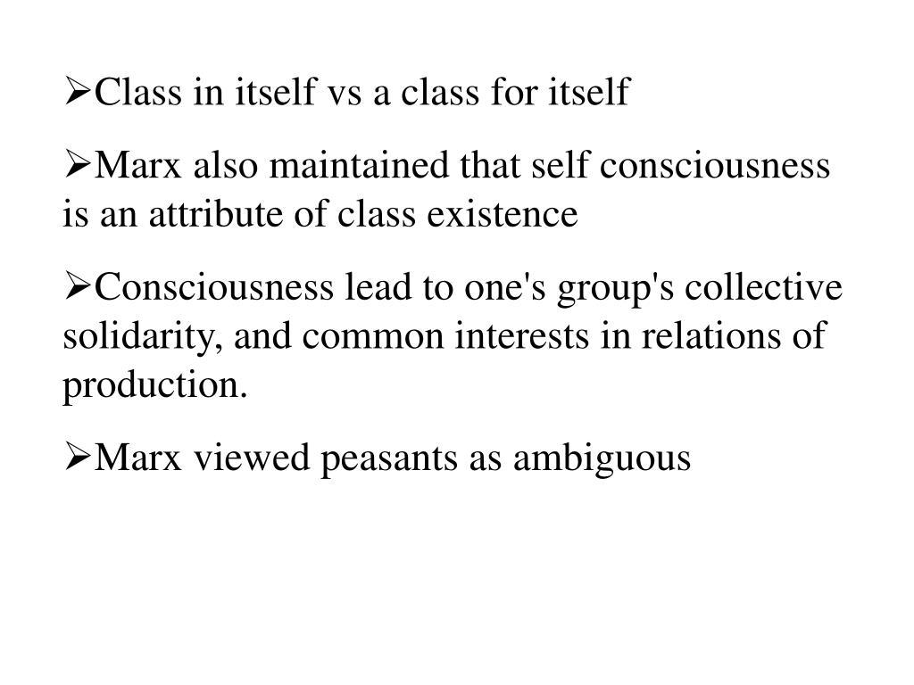 Class in itself vs a class for itself