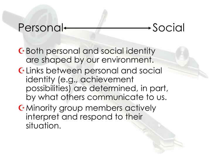 our identity is shaped by our Personal identity deals with philosophical questions that arise about ourselves by virtue of our being people (or, as lawyers and philosophers like to say, persons)this contrasts with questions about ourselves that arise by virtue of our being living things, conscious beings, material objects, or the like.