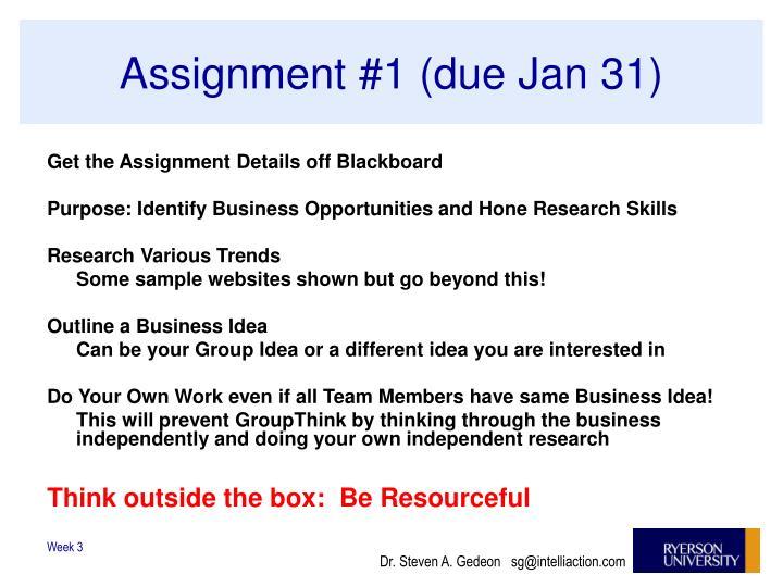 Assignment #1 (due Jan 31)