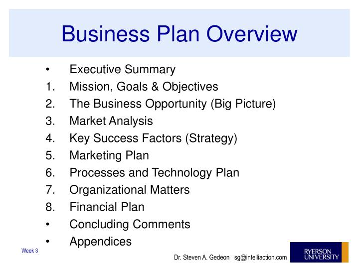 Business Plan Overview