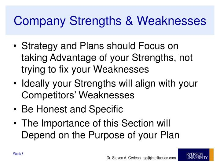Company Strengths & Weaknesses