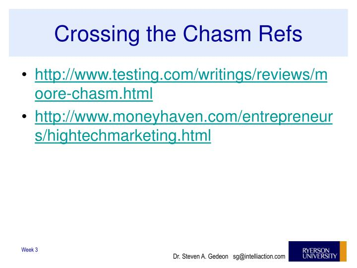 Crossing the Chasm Refs