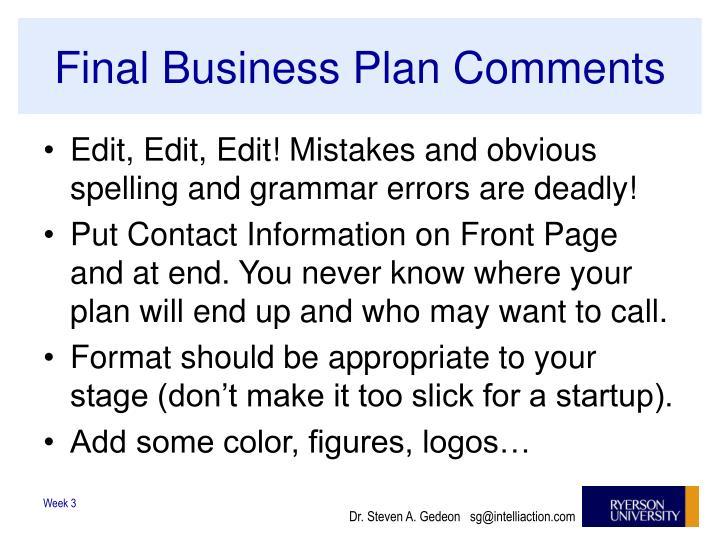 Final Business Plan Comments