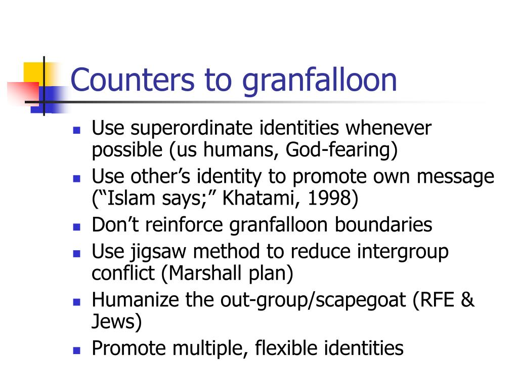 Counters to granfalloon
