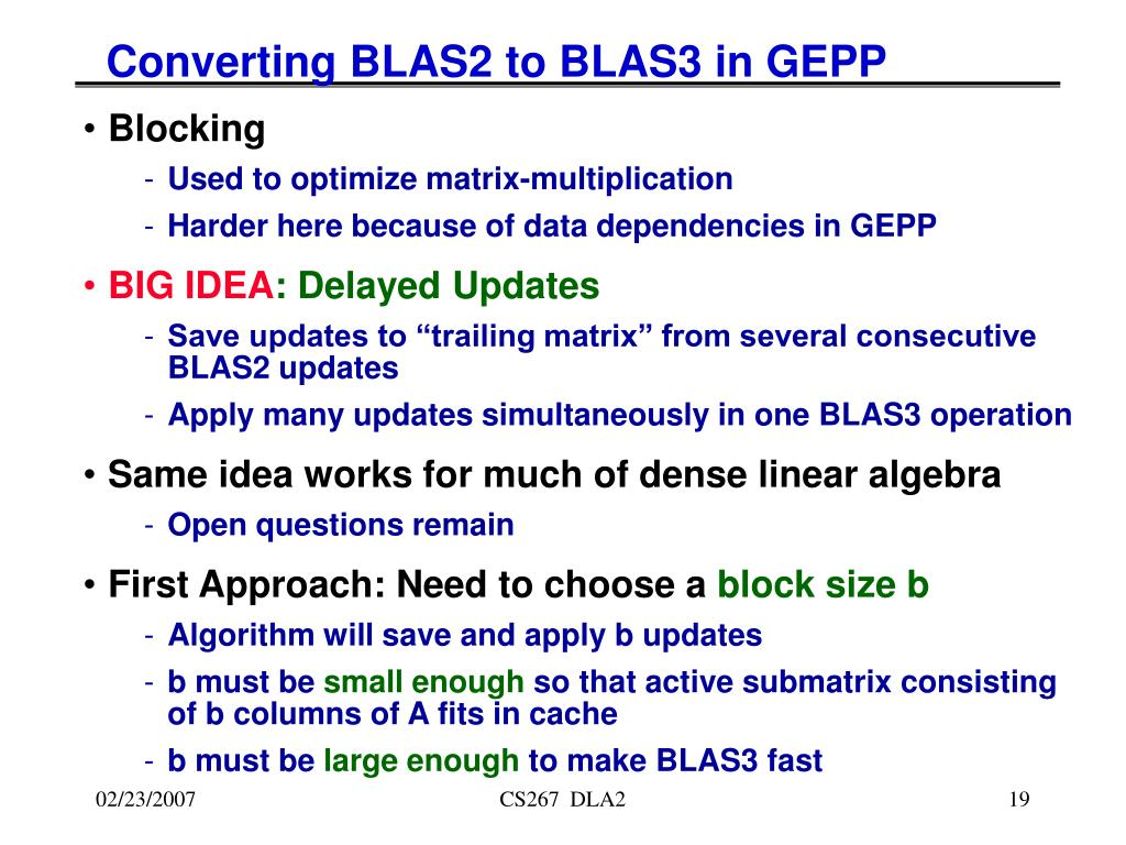 Converting BLAS2 to BLAS3 in GEPP