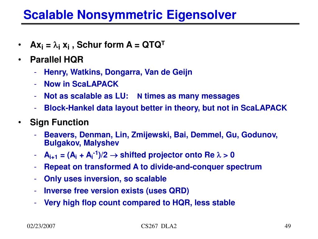Scalable Nonsymmetric Eigensolver