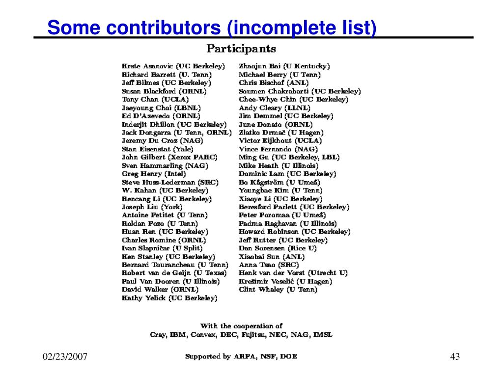 Some contributors (incomplete list)