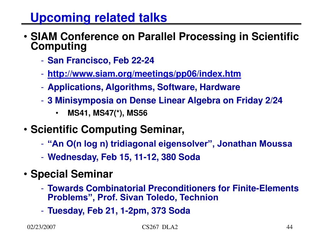 Upcoming related talks